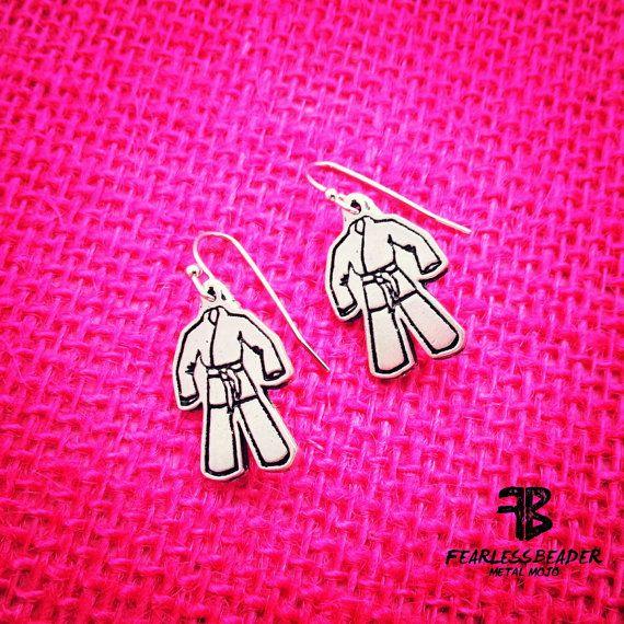 BJJ Earrings, Gi Earrings, Jiu Jitsu Earrings, Martial Arts Earrings, Jiu Jitsu Jewelry, bjj Jewelry, BJJ Gear, MMA Earrings, Karate Jewelry