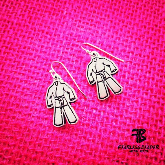 BJJ Earrings Gi Earrings Jiu Jitsu Earrings by TheFearlessBeader