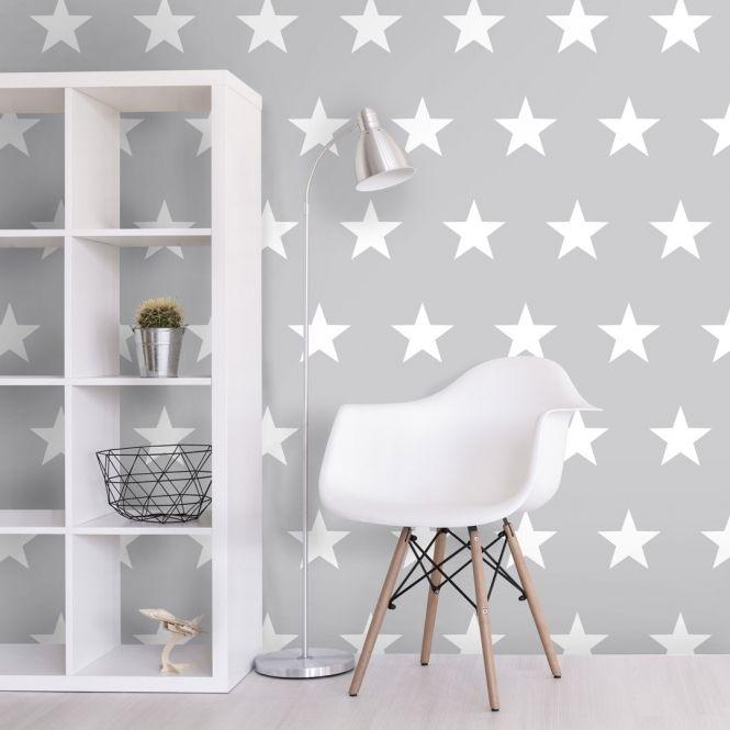 Twinkle Childrens Stars Wallpaper Grey White Childrens Bedroom Wallpaper Girls Room Wallpaper Boys Bedroom Wallpaper