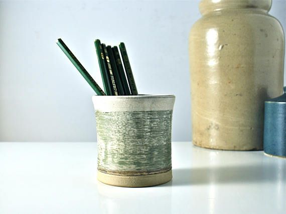 Beaker pencil jar. Studio pottery. Grey green vintage pencil