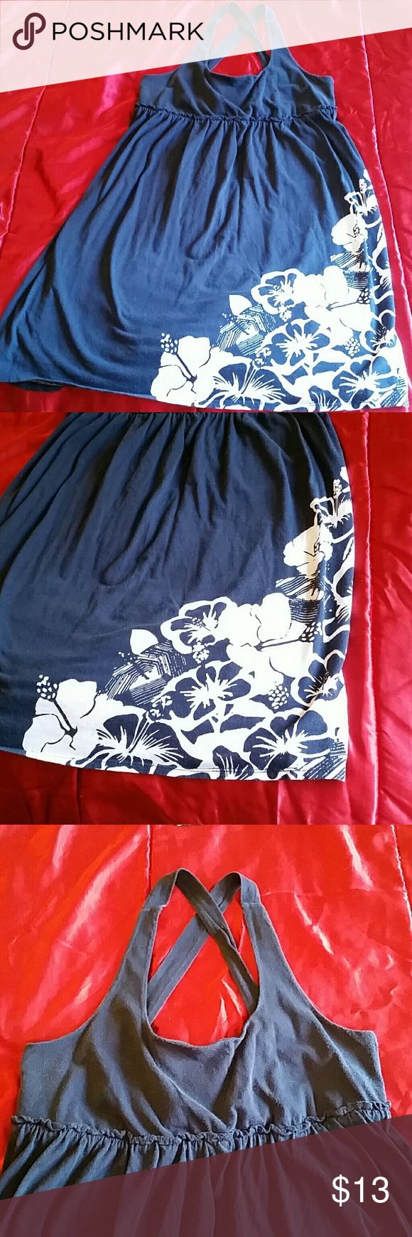 Navy Blue Hawaiian Print Dress Mossimo sundress with a pretty hawiian print Mossimo Supply Co. Dresses
