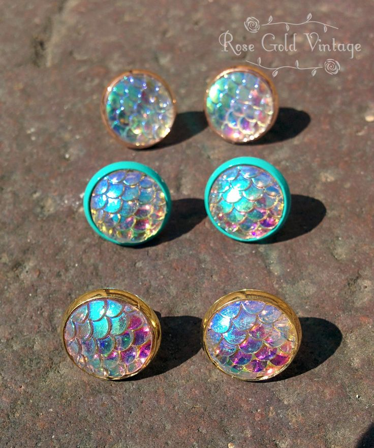 Mermaid Earrings - Rose Gold, Turquoise or Gold – Rose Gold Vintage