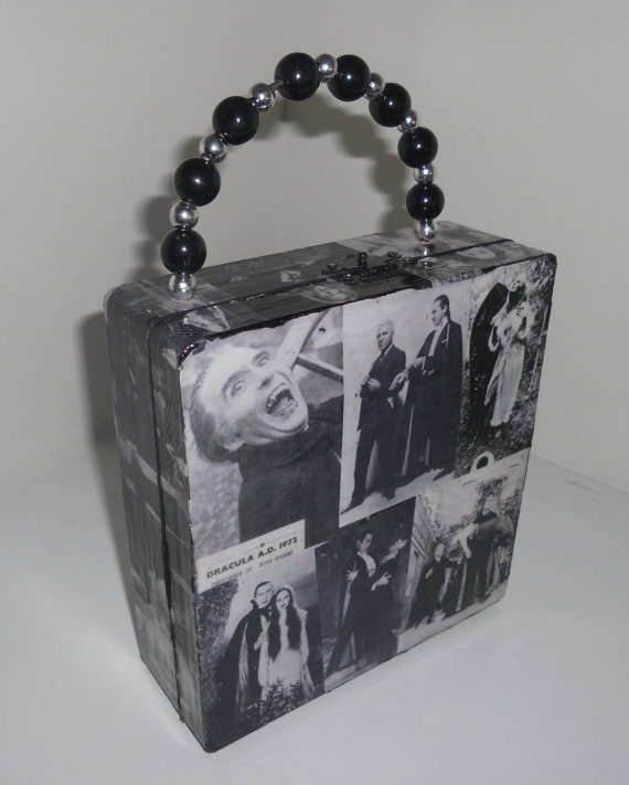 Classic Horror Vampires Cigar Box Purse  Black and white images of classic horror.  Covered with photos of precious moments from Bela Lugosi and Christopher Lee, everyone's favorite and most memorable vampires.  Black and silver beaded handle