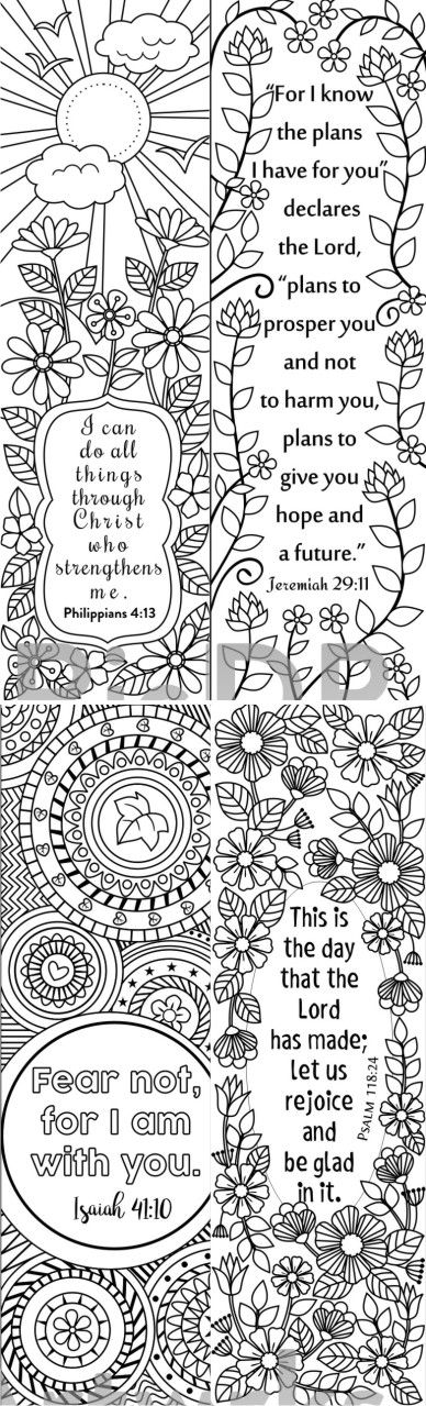 8 Bible Verse Coloring Bookmarks Scriptures