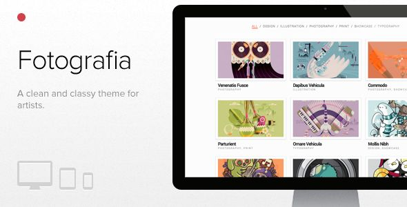 Fotografia, WordPress responsive theme for artists