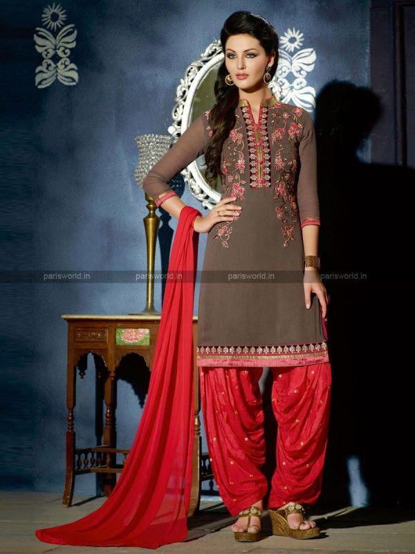 Grey Georgette Elegant Patiala Salwar kameez