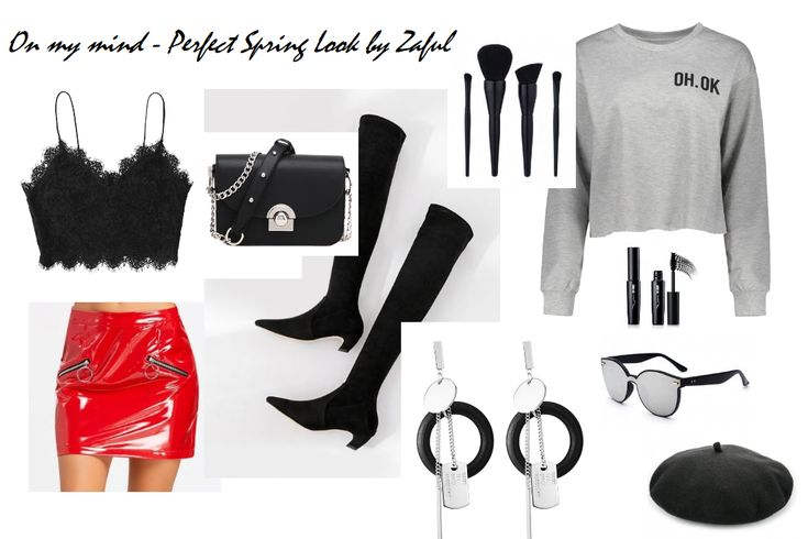 #zaful #totallook #look #lookoftheday #outfit #ootd #black #grey #red #silver #vinyl #skirt #miniskirt #sweatshirt #top #boots #bag #beret #earrings #cosmetics #details #spring #spring2018 #blogger #polishblogger #fashionblogger #beautyblogger #lifestyleblogger #bloggerstyle