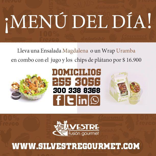 ¡En Silvestre todos los días te consentimos!  Hoy tenemos un menú delicioso:  Ensalada Magdalena: tilapia tempura, lechuga, tomate cherry, berenjenas, cebolla y aguacate, acompañada de crotones y balsámico.  Wrap Uramba: Lomo de res, lechuga,tomate cherry,uvas,champiñón y chips de plátano. Acompañada de nuestra deliciosa Alioli.  #Martessaludable #SilvestreTeCuida #DomicilioMedellín