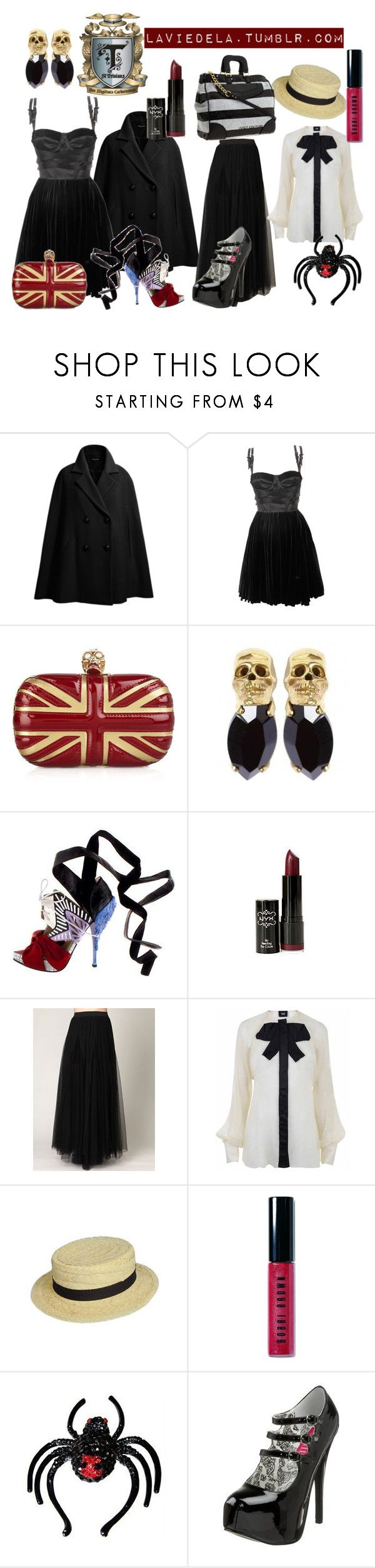 """""""St. Trinians Series 3 - """"We're not goths, we're emos."""""""" by laviedela ❤ liked on Polyvore featuring Isabella Oliver, Versus, Alexander McQueen, Iosselliani, Rodarte, Free People, D&G, Bobbi Brown Cosmetics, Pleaser and Juicy Couture"""