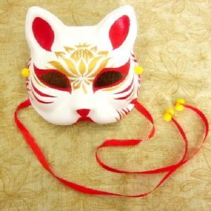 Hand-Painted-Half-Face-Japanese-Style-Fox-Mask-Kitsune-Cosplay-Masquerade-Party