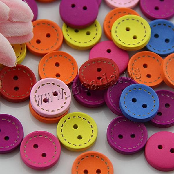 Wood Button, Flat Round, brushwork, 2-hole, mixed colors