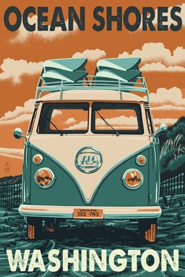 Ocean Shores, Washington - VW Van Letterpress - Lantern Press Poster