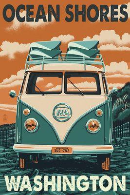 Ocean Shores, Washington - VW Van Letterpress - Lantern Press Poster