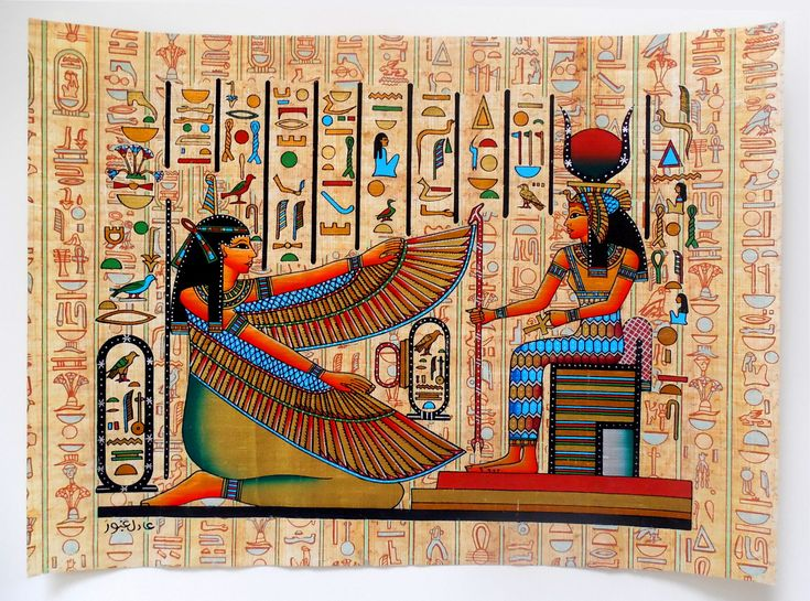 Maat and isis ancient egyptian papyrus painting for Egyptian mural art
