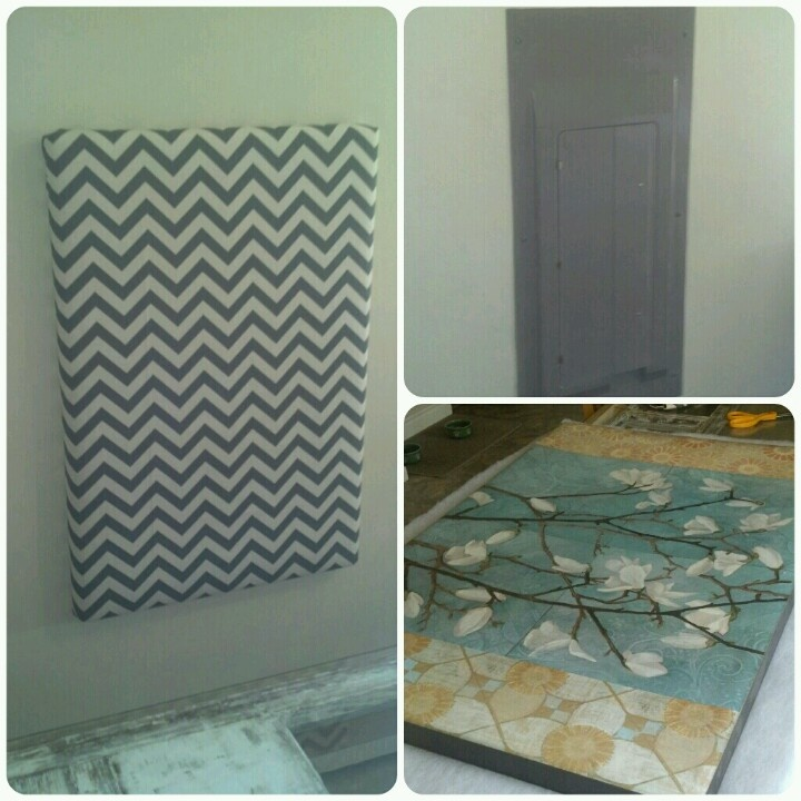 Hide an ugly electric panel! Take an outdated wall hanging, cover with padding and fabric! #diy