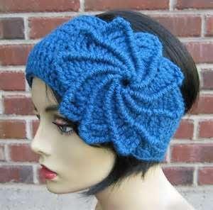 I -Crochet Spiral Flower Headband earwarmer headwrap by yarntwisted