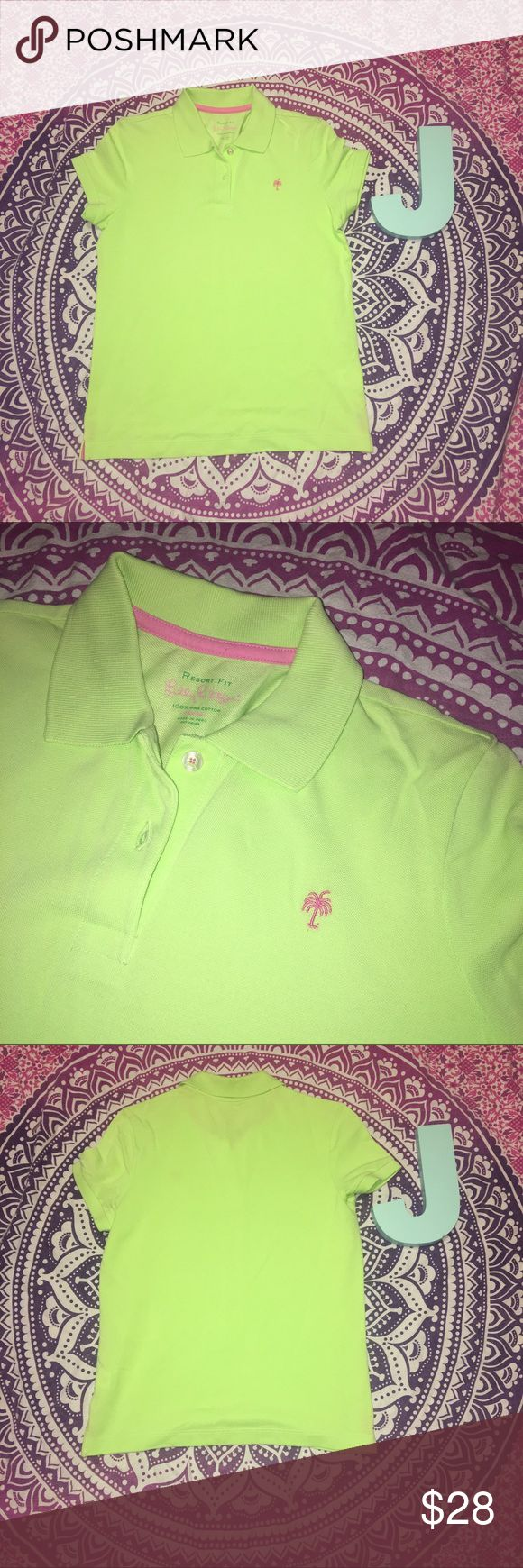 """Lilly Pulitzer Resort Fit Lime Green Polo Shirt Lilly Pulitzer polo shirt. Lime green. Pink palm tree. Resort fit. 100% pima cotton. Size XS. Shoulder to Shoulder: 13.5"""" Pit to Pit: 17"""" Lilly Pulitzer Tops"""