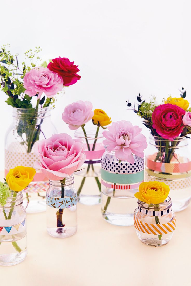 decorate jars with pretty patterned washi tape and pop in a stem or two for a - Decorate