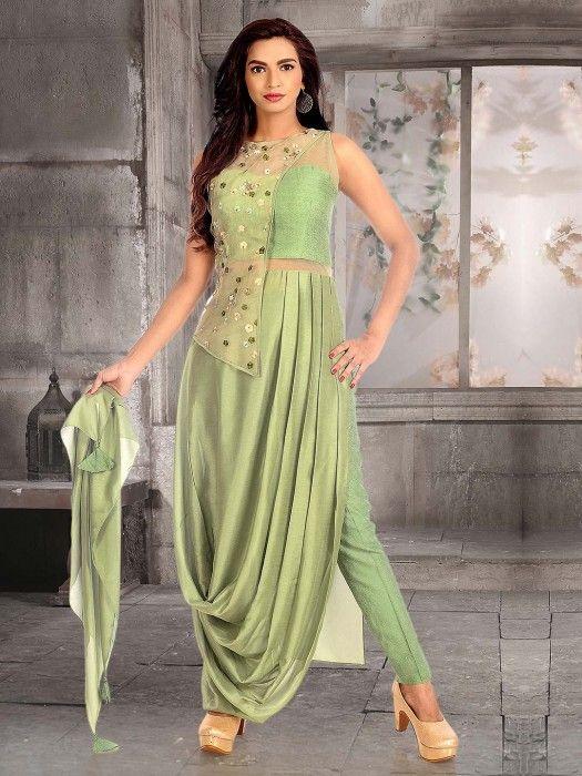 067093fdb961 ... wedding & party wear salwar kameez. Pista Green Cotton Silk Cowl Style  Salwar Suit, Designer women indo-western, latest