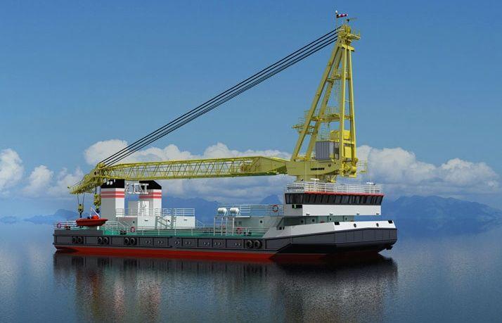 Головной плавкран проекта 02690 СПК-19150. «Помимо работ с обычными грузами, плавкран может использоваться, в том числе, и для выполнения погрузки оружия на надводные корабли и подводные лодки, а также для перевозки грузов на верхней палубе».