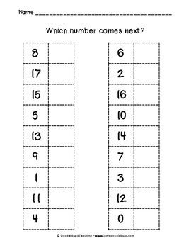 Kindergarten what number comes next worksheet