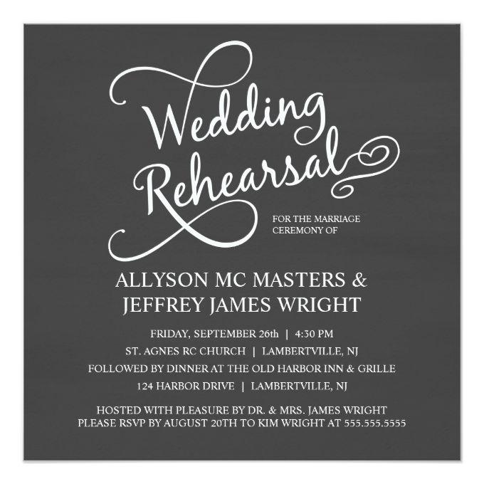 "Elegant Chalkboard Rehearsal Dinner Invitations 5.25"" Square Invitation Card"