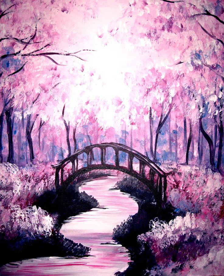 Paint Nite - Bridge under the Cherry Blossoms