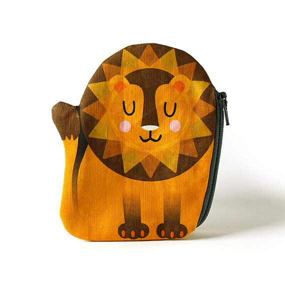 Lion Coin Purse Leo Cotton yellow by kaeselotti on Etsy. Price $28.56 USD