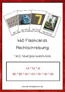 Flashcards zur Rechtschreibung: Wörter mit ck, tz, ie, ah, äh, eh, oh, öh, uh, üh