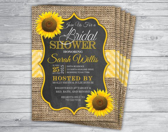 25 best sunflower bridal shower images on pinterest bridal showers printed 5x7 burlap chevron chalkboard sunflower bridal shower invitations with envelopes by printpros filmwisefo
