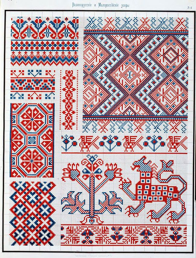 "11pp. of traditional Russian embroidery patterns!  This pattern book is called: ""Collection of Large and Small Russian patterns for embroidery."" (Published in St. Petersburg, 1877)"