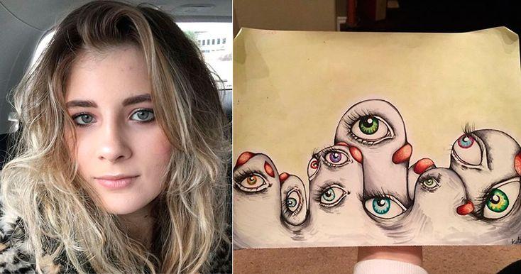 Девушка рисует свои галлюцинации, чтобы бороться с шизофренией.