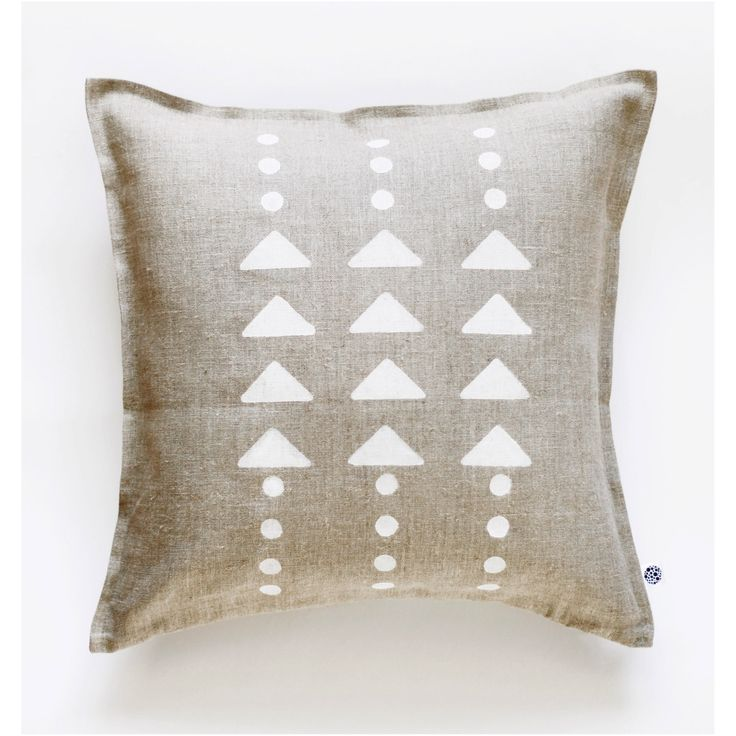 Geometrical decorative gray linen pillow cover hand painted - modern white triangles and polka dots pattern by pillowlink on Etsy