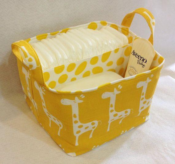 "LG Diaper Caddy 10""x10""x7"" Fabric Bin, Fabric Storage Organizer, Basket Yellow Giraffe with Yellow Spot Lining"