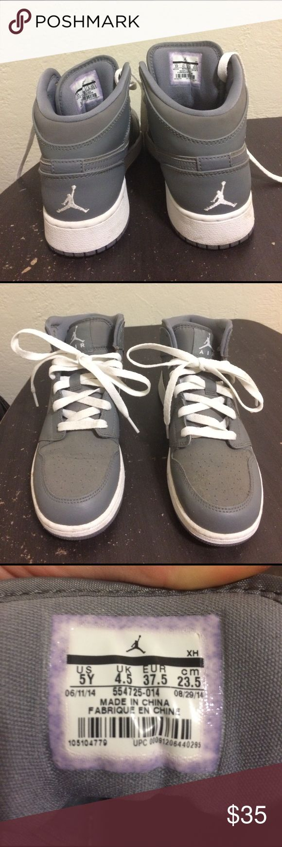 Boys Grade School (Cool Gray) AJ1 Mid No idea if they are real...but still fly as hell! U.S. 5Y. Almost new! Jordan Shoes Sneakers