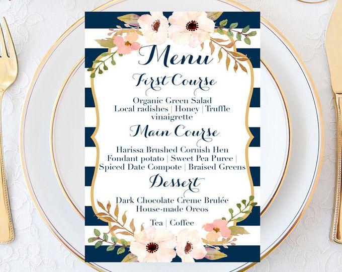 Menu de mariage, menu de mariage marine, menu de mariage rayé, menu de mariage Blush, menu réception, menu de mariage Vintage, menu de mariage imprimable