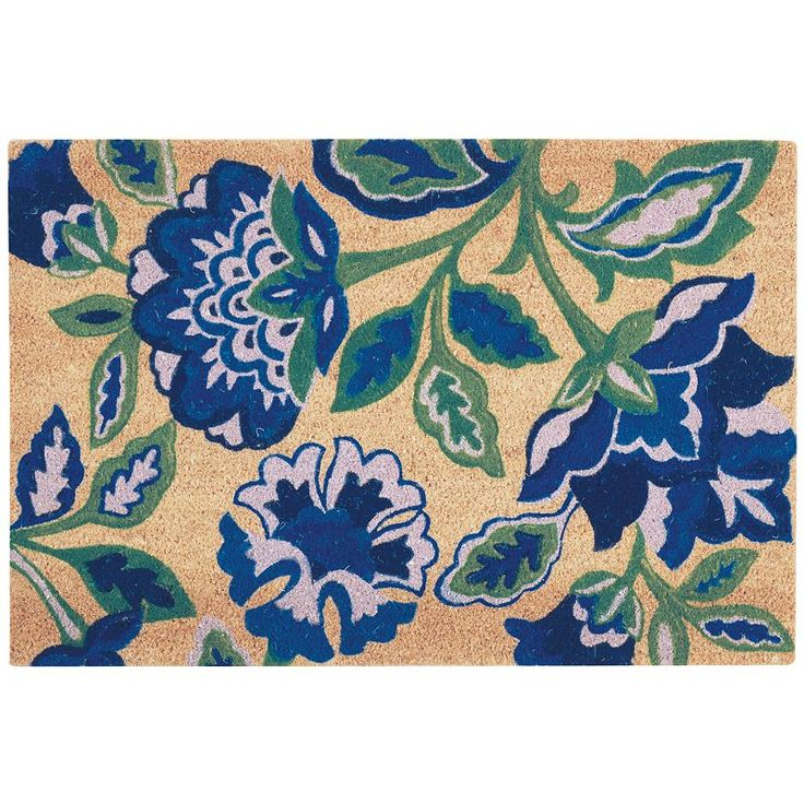 Waverly Greetings Katia Work Floral Coir Doormat, Blue (Navy)