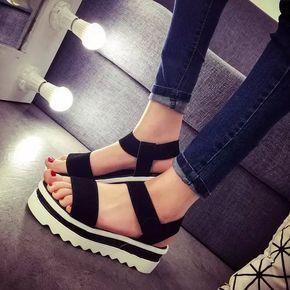 Nuevo 2016 Mujeres Del Verano Zapatos de Plataforma Plana Sandalias de Gladiador Sandalias de Fondo Grueso Zapatos Casuales Cuñas Mujer Sandalias Femininas