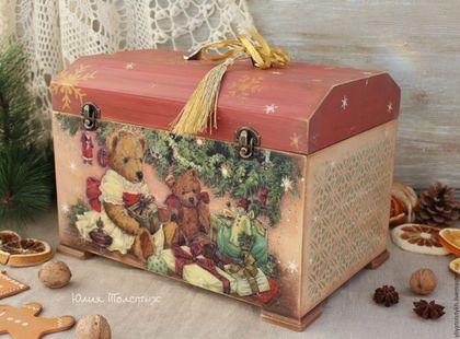 """Шкатулки ручной работы. Ярмарка Мастеров - ручная работа. Купить Ларец-сундук """"Любимые мишки"""". Handmade. Сундук из дерева, рождество"""