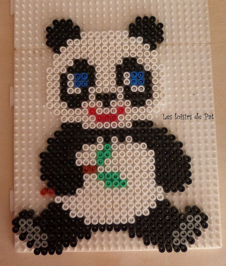 panda hama beads by les loisirs de pat chine pinterest tags perles et perles hama. Black Bedroom Furniture Sets. Home Design Ideas