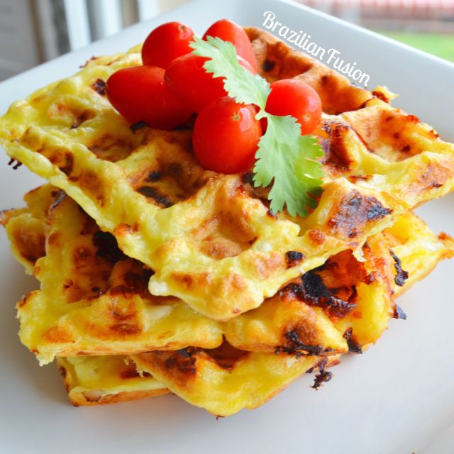 Only second to the original pão de queijo, a staple of the Brazilian cuisine also know as Brazilian Cheese bread or cheese puffs, here is the cheese waffle, a very Americanized version to something ve