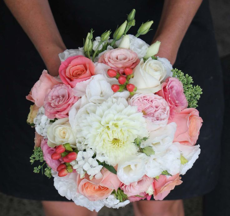 Coral, soft pink and white bouquet - Romantic wedding flowers made by Amy's Flowers