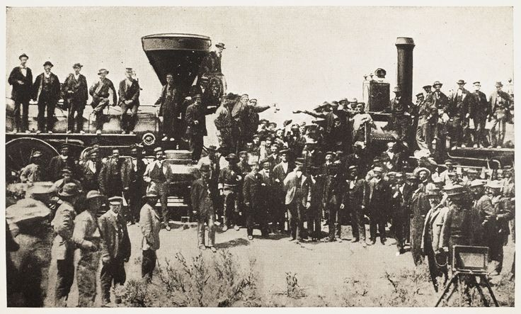 The Central Pacific's engine Jupiter and the Union Pacific's engine No. 119 meet on May 10, 1869, at Promontory Summit, Utah.