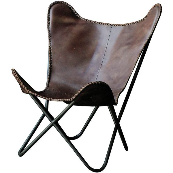Creative Co-Op Terrain Metal and Leather Butterfly Side Chair ($391) ❤ liked on Polyvore featuring home, furniture, chairs, chair, modern chair, modern furniture, mod chair, metal chairs and colored chairs