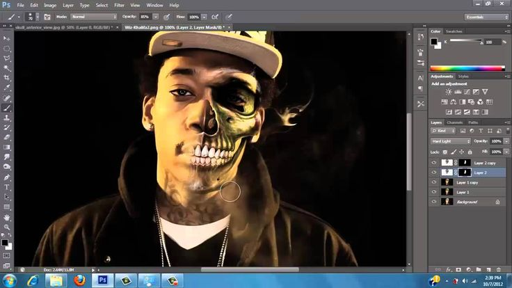 -Photoshop CS6 Tutorial- Half Skull Half Human-