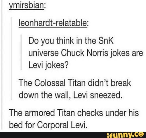 levi, aot, shingekinokyojin, attackontitan>> You people don't understand. I thought this was a thing before I saw this!! LIKE I HAVE A CHAPTER OF AN ATTACK ON TITAN JOKE BOOK FILLED WITH THESE!!!!