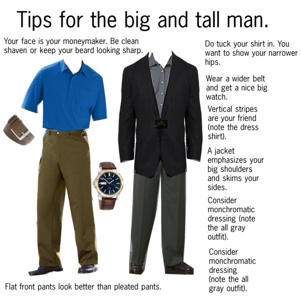 """Tips for the big and tall man"" by professionality on Polyvore"