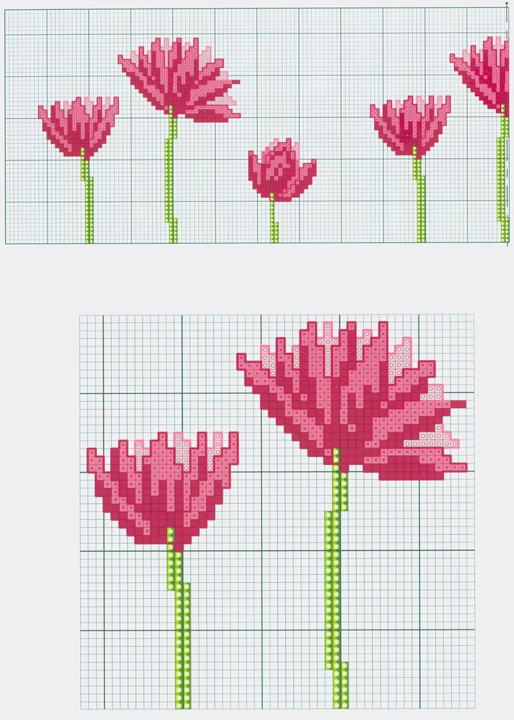 Pink Flower Motif (part 1) free cross stitch pattern from www.coatscrafts.pl