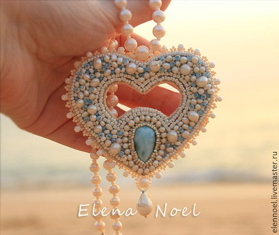 Heart of the ocean. Embroidered beaded necklace with por ElenNoel