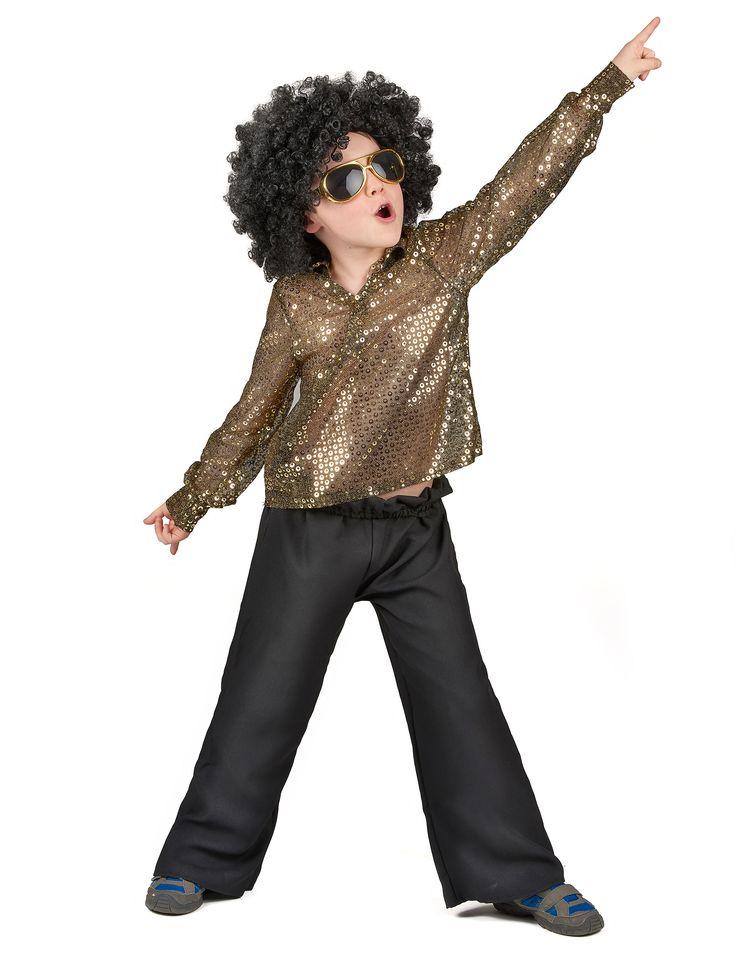 Disfraz disco para niño: Este disfraz disco para niño está compuesto por un pantalón y una camiseta con cuello de pico (zapatos no incluidos). La camiseta brillante es de color dorado, de manga larga y...